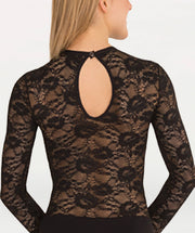 Leotard With Lace Body and Long Sleeves - GIRLS