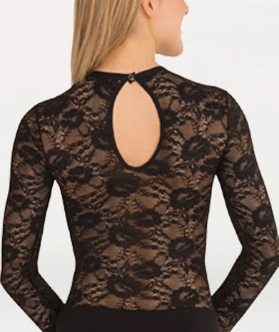 Leotard With Lace Body and Long Sleeves - WOMENS