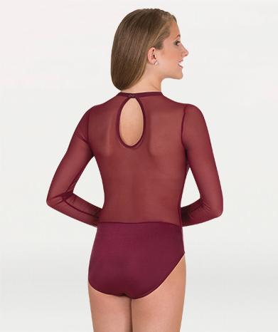Competition Leotard With Power Mesh Body & Sleeves - GIRLS