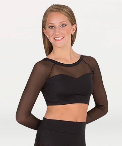 Long Sleeve Sweetheart Neckline Crop Bra - GIRLS