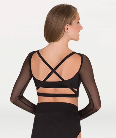 Long Sleeved Sweetheart Neckline Crop Bra Top - WOMENS