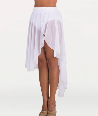 Asymmetrical Petal Front Slit Power Mesh Skirt - WOMENS