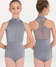 Mock neck sheer back dance leotard for Tiler Peck Designs, a girls and womens dancewear collection for Body Wrappers by Tiler Peck, Principle Dancer of New York City Ballet NYCB who can also be seen as Sienna Milken in the Netflix series Pretty Little Things.