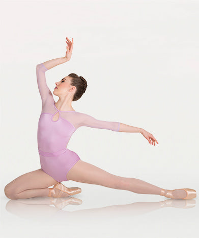 A long sleeved ballet leotard for Tiler Peck Designs, a girls and womens dancewear collection for Body Wrappers  by Tiler Peck, Principle Dancer of New York City Ballet NYCB who can also be seen as Sienna Milken in the Netflix series Pretty Little Things.