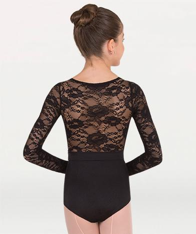 A long sleeved lace ballet leotard for Tiler Peck Designs, a girls and womens dancewear collection for Body Wrappers by Tiler Peck, Principle Dancer of New York City Ballet NYCB who can also be seen as Sienna Milken in the Netflix series Pretty Little Things.