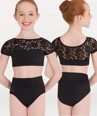Lace dance costume brief for Tiler Peck Designs, a girls and womens dancewear collection for Body Wrappers by Tiler Peck, Principle Dancer of New York City Ballet NYCB who can also be seen as Sienna Milken in the Netflix series Pretty Little Things.