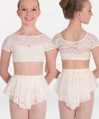 Lace dance skirt  for Tiler Peck Designs, a girls and womens dancewear collection for Body Wrappers by Tiler Peck, Principle Dancer of New York City Ballet NYCB who can also be seen as Sienna Milken in the Netflix series Pretty Little Things.