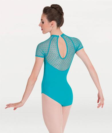 A cap sleeve mesh ballet leotard for Tiler Peck Designs, a girls and womens dancewear collection for Body Wrappers by Tiler Peck, Principle Dancer of New York City Ballet NYCB who can also be seen as Sienna Milken in the Netflix series Pretty Little Things.