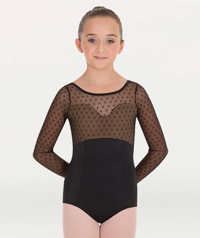 Mesh Long Sleeve Ballet Leotard for Tiler Peck Designs, a girls and womens dancewear collection for Body Wrappers by Tiler Peck, Principle Dancer of New York City Ballet NYCB who can also be seen as Sienna Milken in the Netflix series Pretty Little Things.