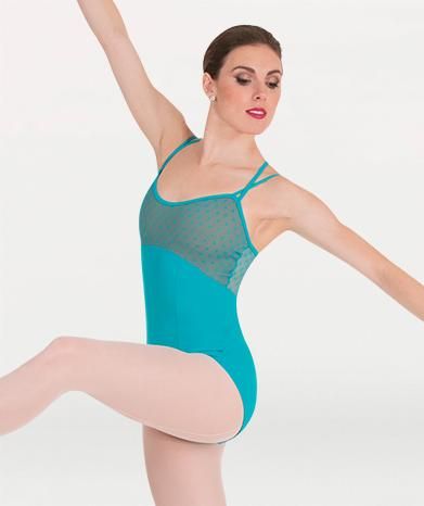 This cross back camisole leotard  for Tiler Peck Designs, a girls and womens dancewear collection for Body Wrappers by Tiler Peck, Principle Dancer of New York City Ballet NYCB who can also be seen as Sienna Milken in the Netflix series Pretty Little Things.