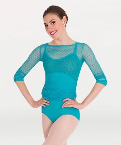 This pull over long sleeved mesh ballet top for Tiler Peck Designs, a girls and womens dancewear collection for Body Wrappers by Tiler Peck, Principle Dancer of New York City Ballet NYCB who can also be seen as Sienna Milken in the Netflix series Pretty Little Things.