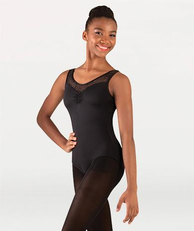 Tank ballet leotard with mesh for Tiler Peck Designs, a girls and womens dancewear collection for Body Wrappers by Tiler Peck, Principle Dancer of New York City Ballet NYCB who can also be seen as Sienna Milken in the Netflix series Pretty Little Things.
