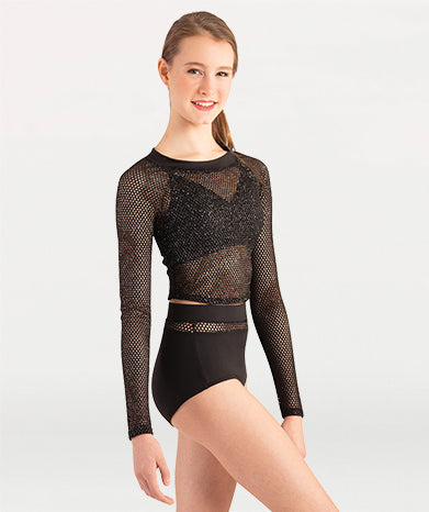 Open Mesh Long Sleeve Crop Pullover Tiler Peck Designs - WOMENS