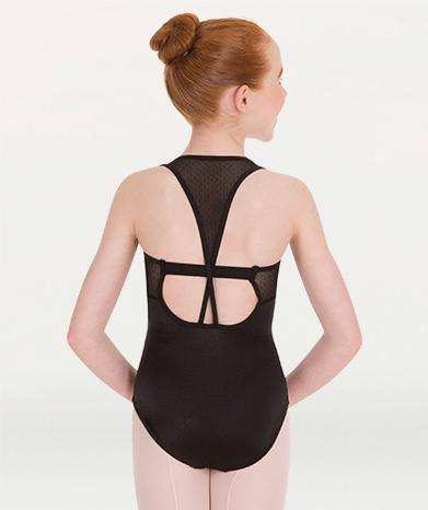 Tank mesh cut out ballet leotard for Tiler Peck Designs, a girls and womens dancewear collection for Body Wrappers by Tiler Peck, Principle Dancer of New York City Ballet NYCB who can also be seen as Sienna Milken in the Netflix series Pretty Little Things.