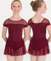 Short sleeve leotard with attached skirt for Tiler Peck Designs, a girls and womens dancewear collection for Body Wrappers by Tiler Peck, Principle Dancer of New York City Ballet NYCB who can also be seen as Sienna Milken in the Netflix series Pretty Little Things.