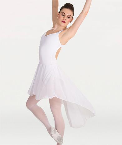 This low back dance dress for dance costumes  for Tiler Peck Designs, a girls and womens dancewear collection for Body Wrappers  by Tiler Peck, Principle Dancer of New York City Ballet NYCB who can also be seen as Sienna Milken in the Netflix series Pretty Little Things.