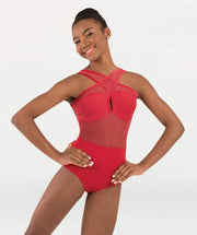 Cross front ballet leotard for Tiler Peck Designs, a girls and womens dancewear collection for Body Wrappers by Tiler Peck, Principle Dancer of New York City Ballet NYCB who can also be seen as Sienna Milken in the Netflix series Pretty Little Things.