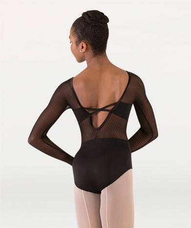 Mesh long sleeve dance leotard for Tiler Peck Designs, a girls and womens dancewear collection for Body Wrappers by Tiler Peck, Principle Dancer of New York City Ballet NYCB who can also be seen as Sienna Milken in the Netflix series Pretty Little Things.