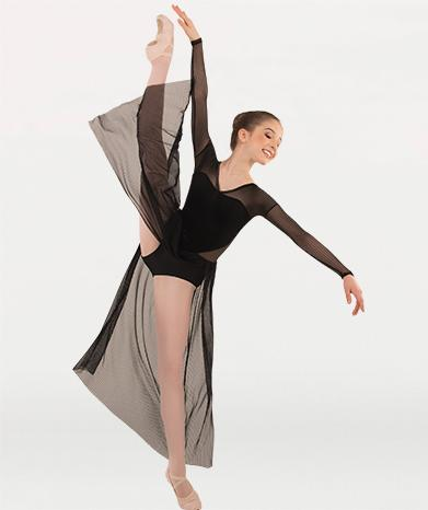 Sheer dance dress costume for Tiler Peck Designs, a girls and womens dancewear collection for Body Wrappers by Tiler Peck, Principle Dancer of New York City Ballet NYCB who can also be seen as Sienna Milken in the Netflix series Pretty Little Things.