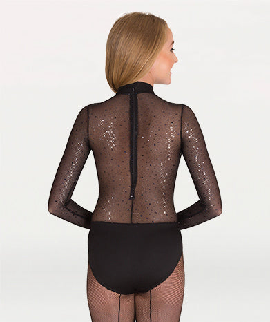 Mesh Sleeved Sweetheart Neckline Leotard - WOMENS