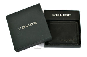 Leather Bi-Fold Coin Wallet - Black