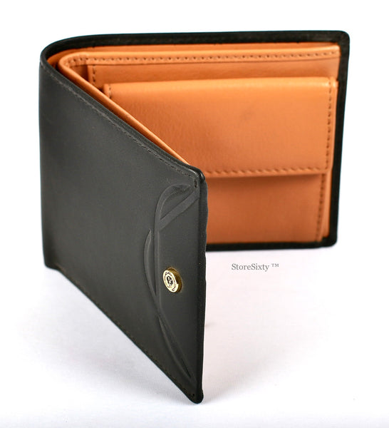 Leather Bi-Fold Coin Wallet