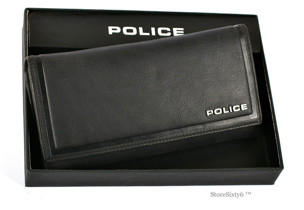 Leather Clutch Full-Flap Wallet for Women - BLACK