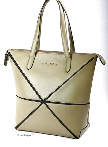 Leather Collapsible Large Tote for Women - Stone