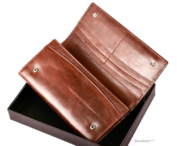 Leather Clutch Full-Flap Wallet for Women - BROWN