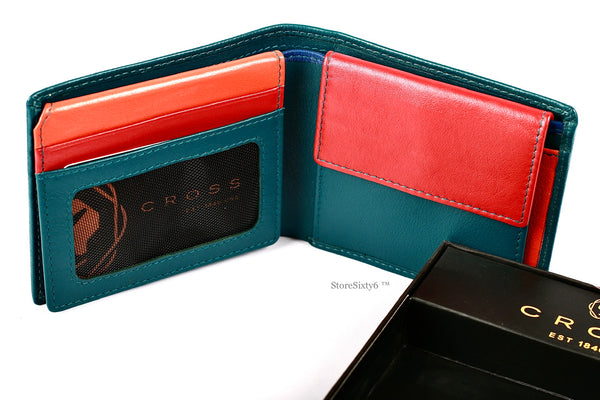 Leather Over-Flap Coin Wallet - Green/Multi