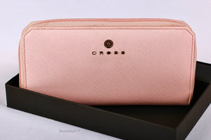 Zip Around Clutch Wallet for Women - WHITE PINK