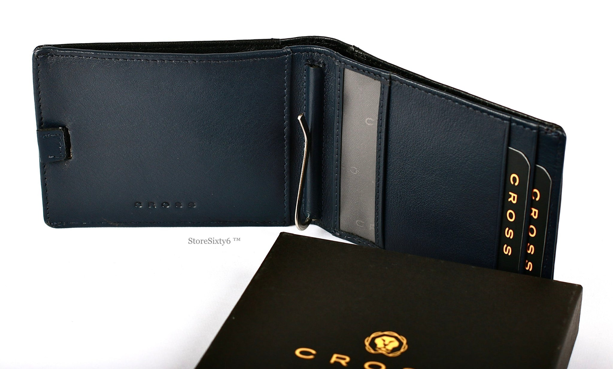 Leather Wallet with Money Clip - Black/Navy