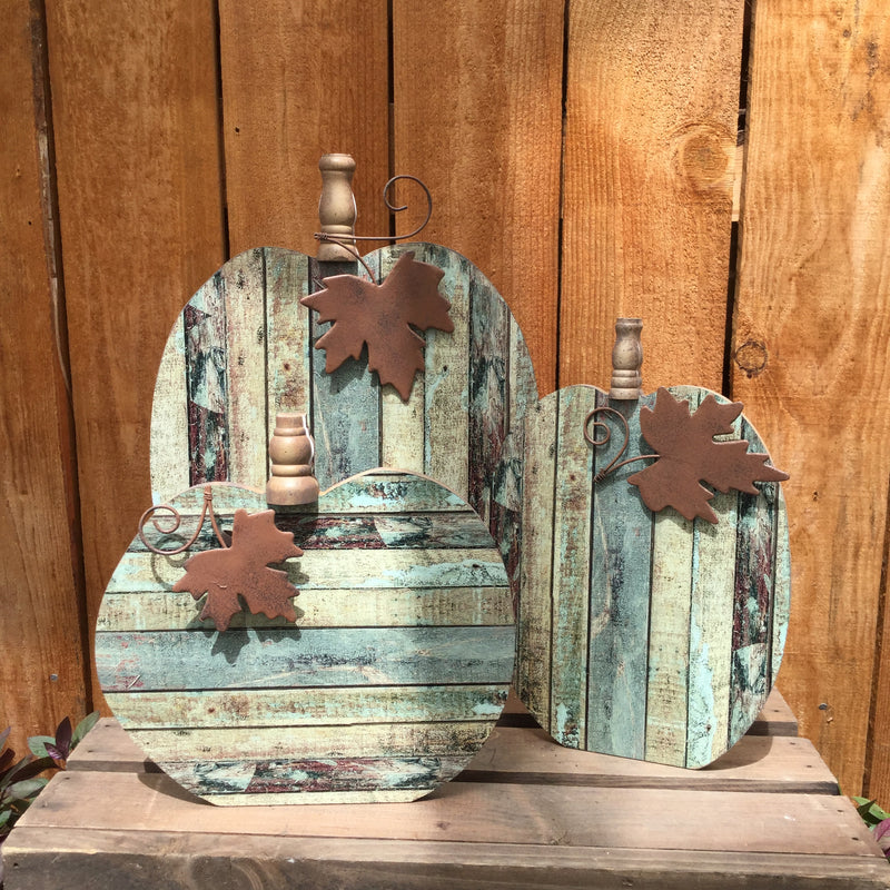 Rustic Blue Wood Pumpkin