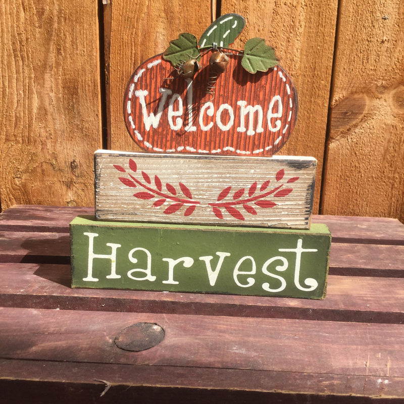 Stacked Wooden Fall Sign