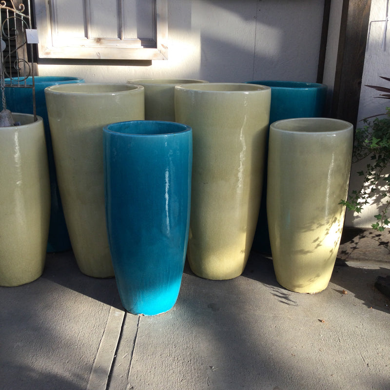 Tall Round Glazed Planter