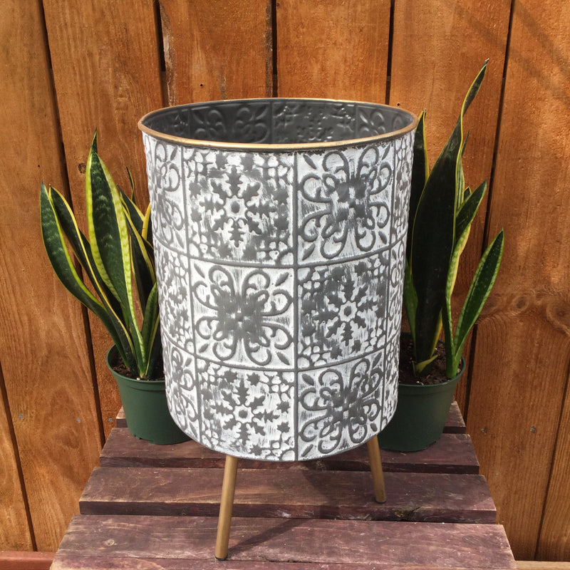 Gold and Grey Round Planter