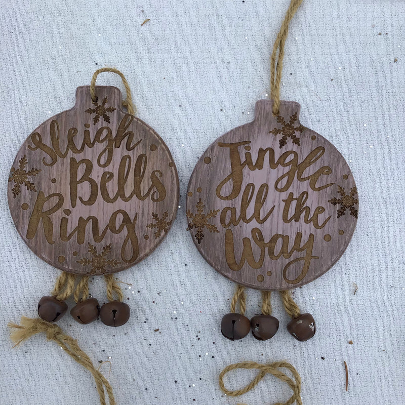 Wooden Message Ornament with Bells