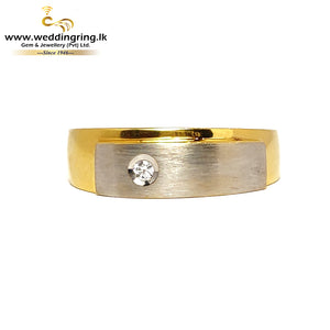 22KT Gold Ring With White Gold Plated