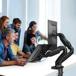 Huanuo Dual Monitor Stand - Adjustable Spring Monitor Desk Mount Swivel Vesa Bracket with C Clamp, Grommet Mounting Base for 17 to 27 Inch Computer Screens - Each Arm Holds 4.4 to 14.3lbs