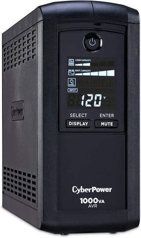 CyberPower CP1000AVRLCD Intelligent LCD UPS System, 1000VA/600W, 9 Outlets, AVR, Mini-Tower Black - ReLite