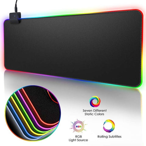 RGB Gaming Mouse Pad Large Mouse Pad Gamer Led Computer Mousepad Big Mouse Mat with Backlight Carpet For keyboard Desk Mat Mause - ReLite