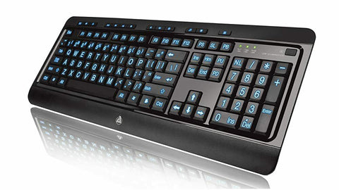 Azio KB505U Vision Large Print Backlit Wired Keyboard - Black - ReLite