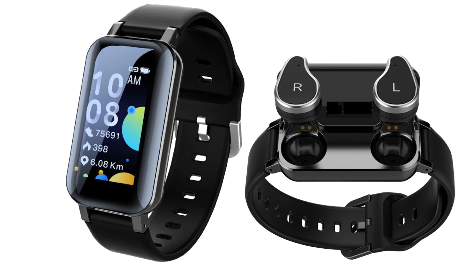 I FUTURE WATCH™: an intelligent 2 in 1 smartwatch and TWS earbuds integrated device.