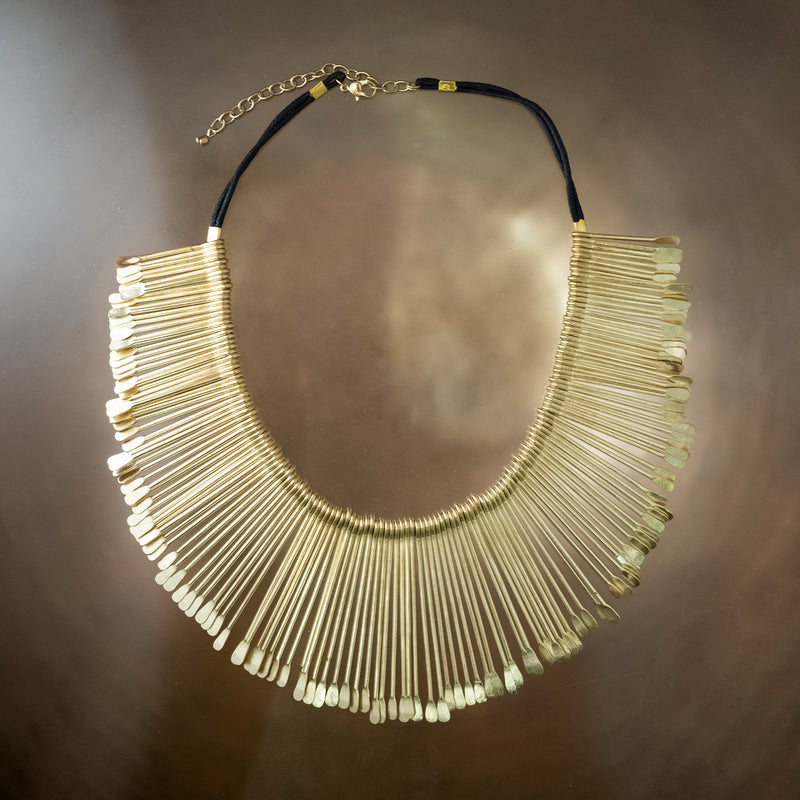 Golden Sun Rays Brass Necklace