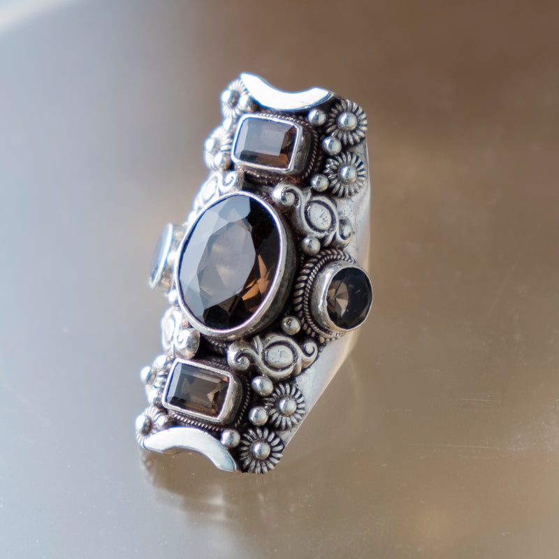 Smoky Quartz Triple Ring