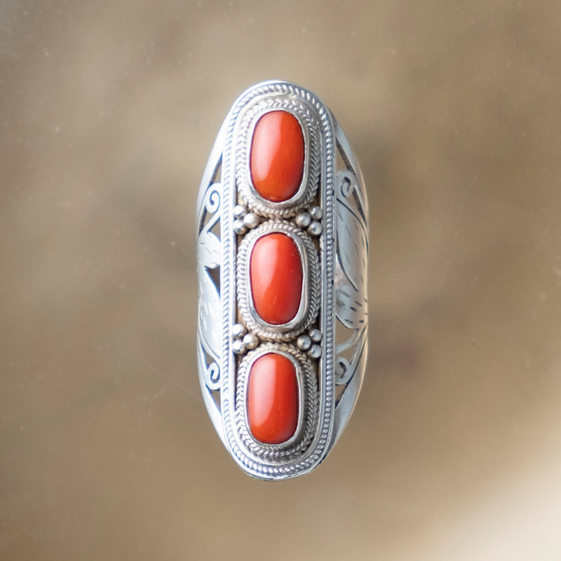 Coral Triple Ring