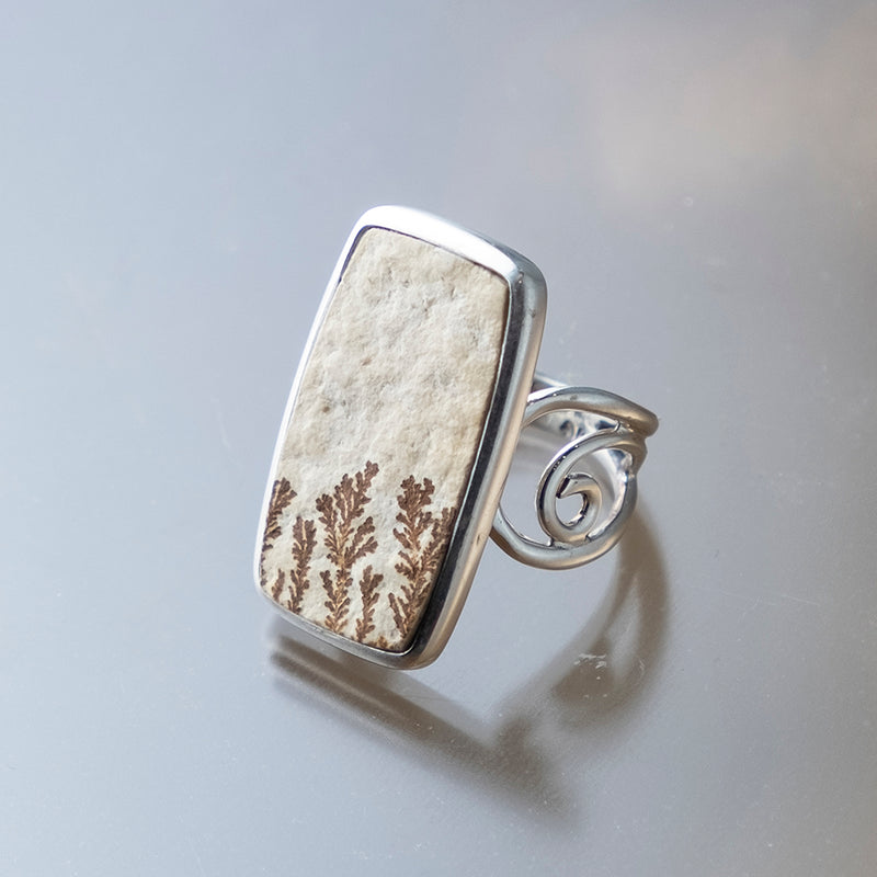 Long Rectangle Psilomelane Ring