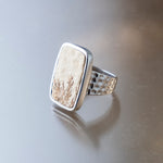 Rectangle Psilomelane Fossil Ring