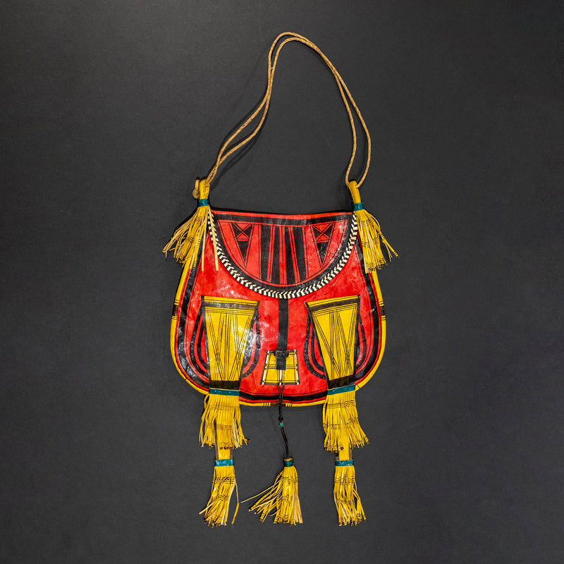 Tuareg Red, Yellow & Black Classic Goat Leather Bag