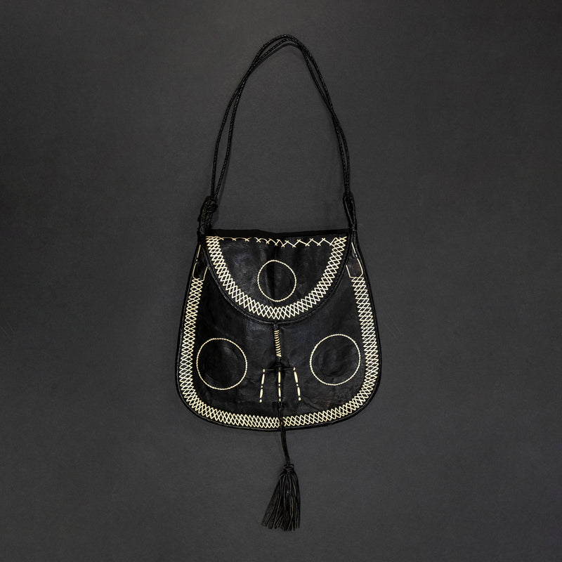 Tuareg Black & White Circle Goat Leather Bag